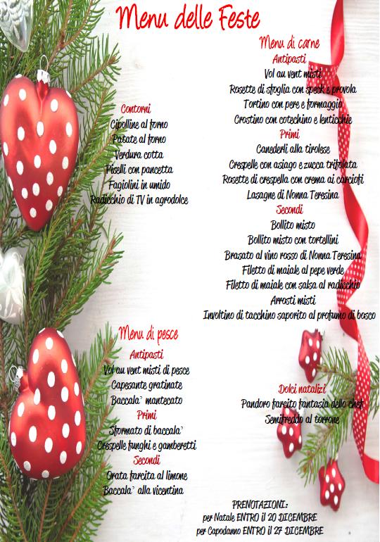 Menu Di Natale Cenone.Menu Per Il Cenone Di Capodanno Cooperativa Agricola Volpago S C A